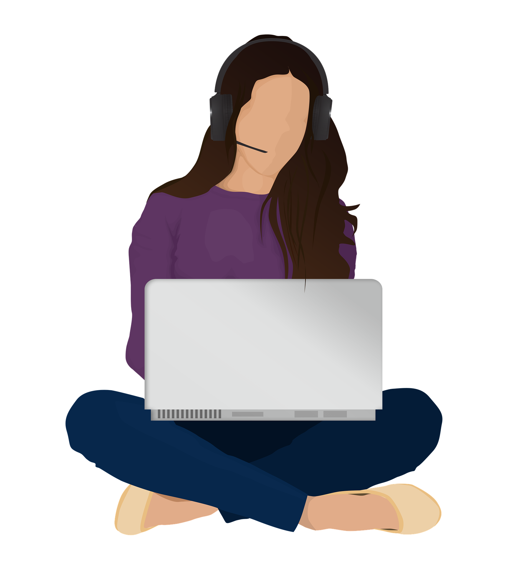Illustration of woman working on laptop with headset